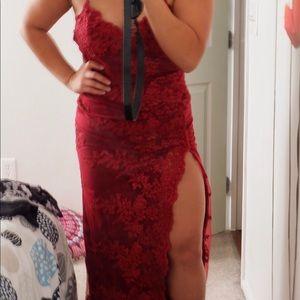 Fashion nova red lace w/ slit maxi dress